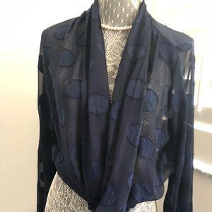 Tops - EVENUEL, cross over navy blue blouse